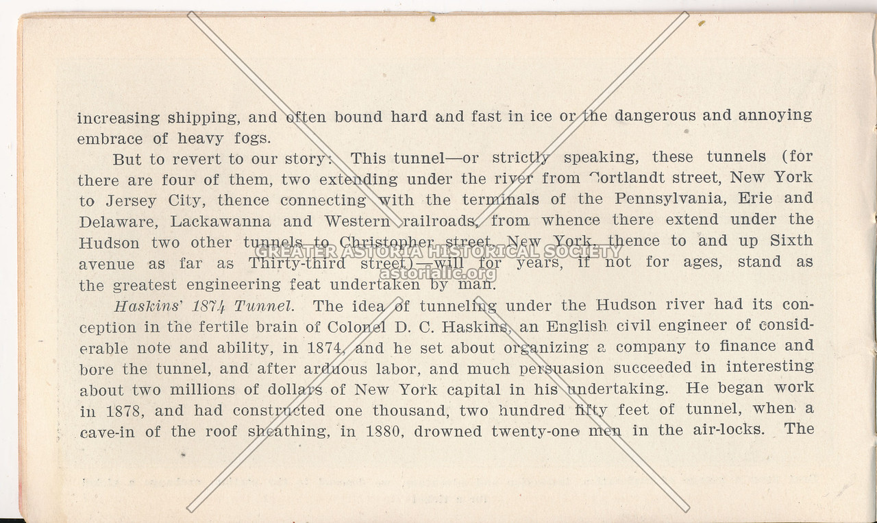 McAdoo System Pamphlet and the Haskins' 1874 Tunnel Information