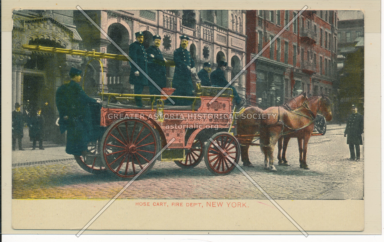 Horse Cart and Fire Brigade, New York City
