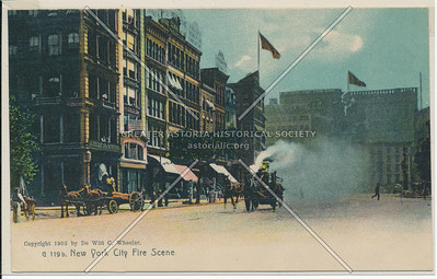 New York City Fire Scene and Horse-Drawn Fire Engine