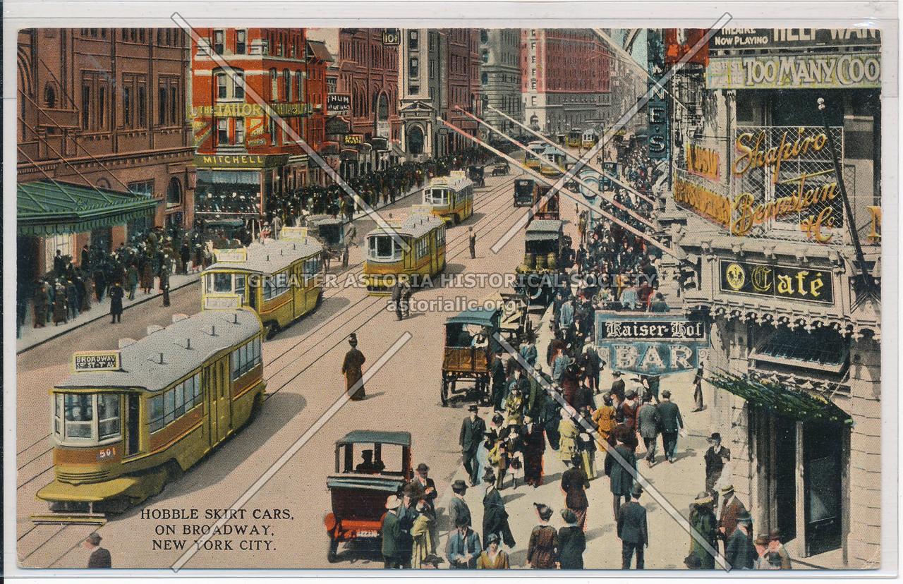 Hobble Skirt Cars on Broadway, New York City
