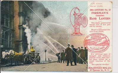 Fire Scene with NYC Fire Brigade and Fireman's Hand Lantern Advertisement, NYC
