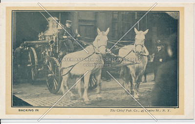 Backing In, Showing Horse-Drawn Fire Engine, NYC Fire Brigade