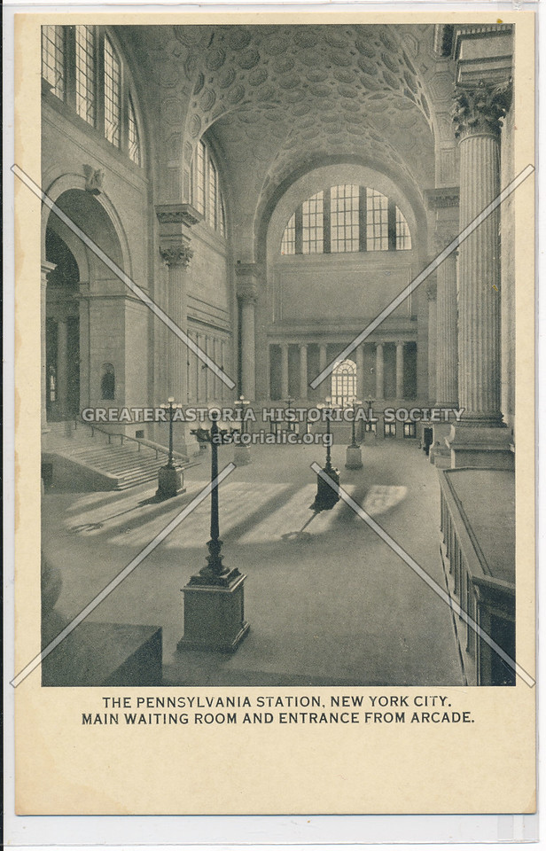 Main Waiting Room and Entrance from Arcade, The Pennsylvania Station, New York City