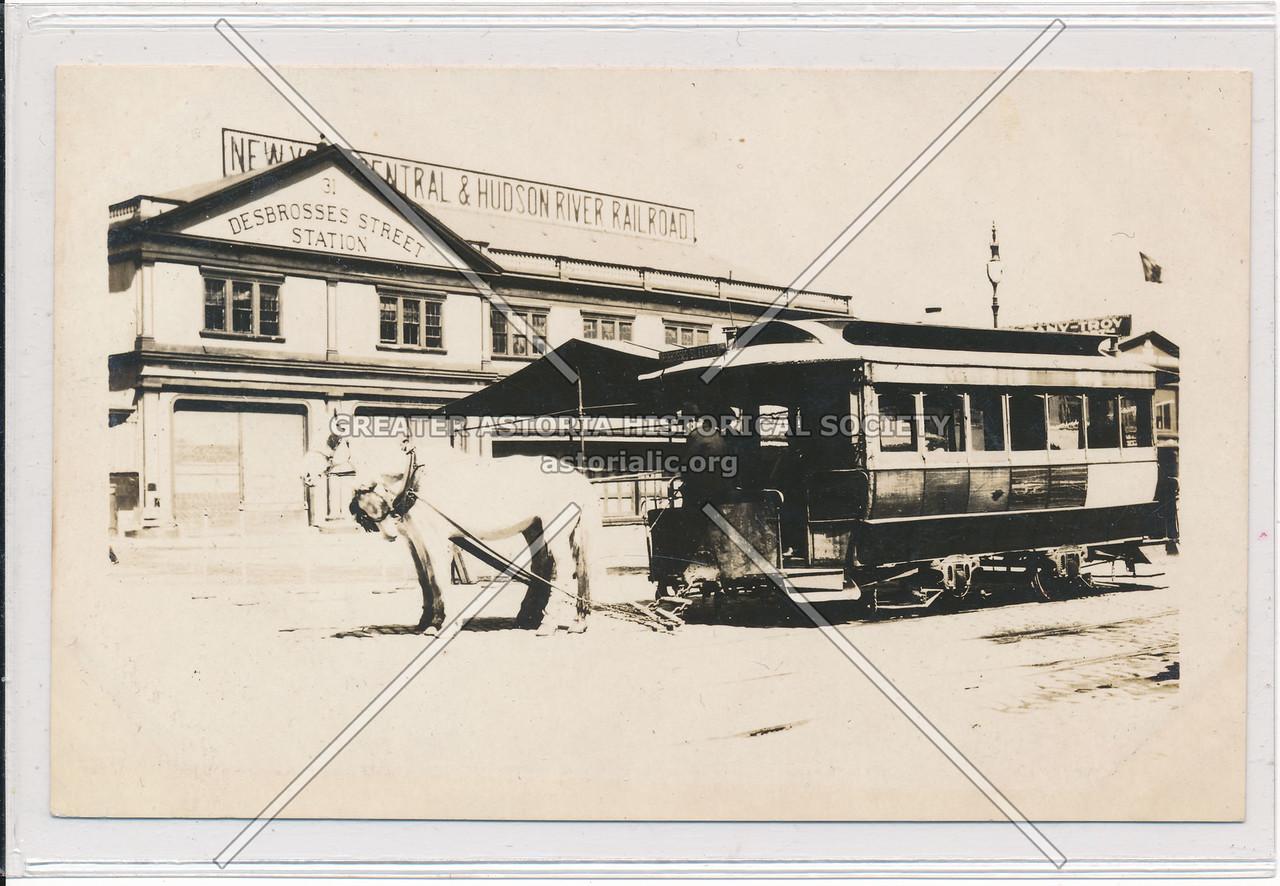 31 Debrosses St Station, NYC & Harlem River RR Horse Car, NYC