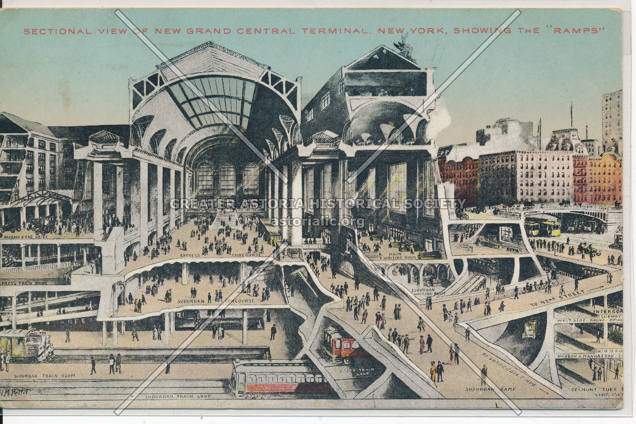 """Sectional View of New Grand Central Terminal, Showing the """"Ramps"""", NYC"""