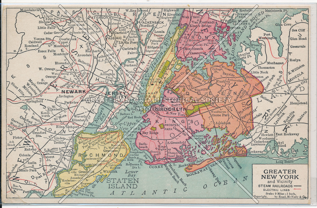 Greater New York and Vicinity Railroads and Electric Lines Map