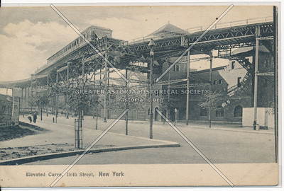 110 St Elevated Train Curve, NYC
