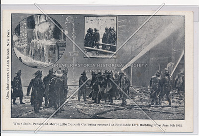 Wm Giblin, President Mercantile Deposit Co., Being Rescued at Equitable Life Building Fire, January 9th 1912, NYC
