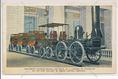 The DeWitt Clinton Engine and Train as it Appears on Exhibition on the East Gallery of Grand Central Terminal, NYC