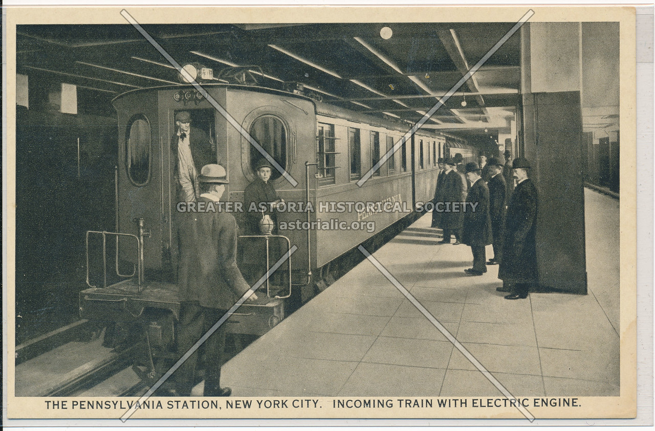 Incoming Train with Electric Engine at the Pennsylvania Station, NYC