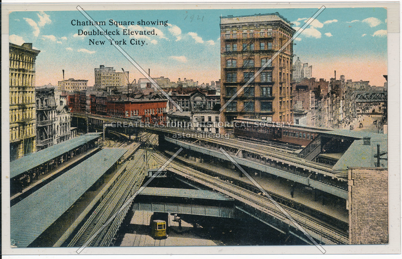 Chatham Square Showing Doubledeck Elevated, NYC