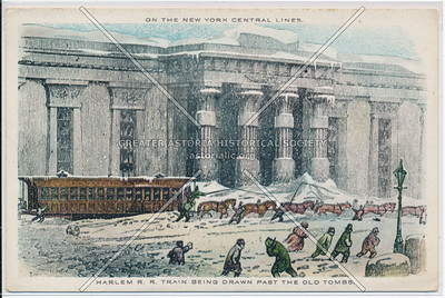 Harlem Railroad Train Being Drawn Past the Old Tombs on the New York City Central Lines