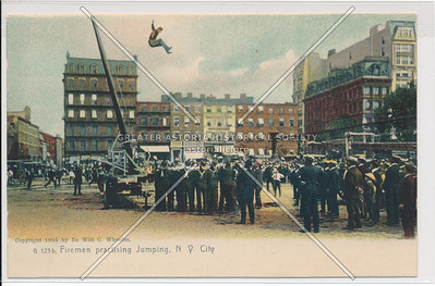 Firemen Practicing Jumping, New York City