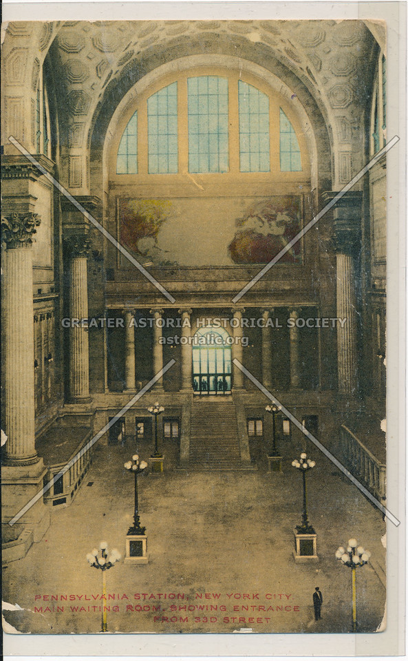 Main Waiting Room, Showing Entrance from 33rd Street, Pennsylvania Station, NYC
