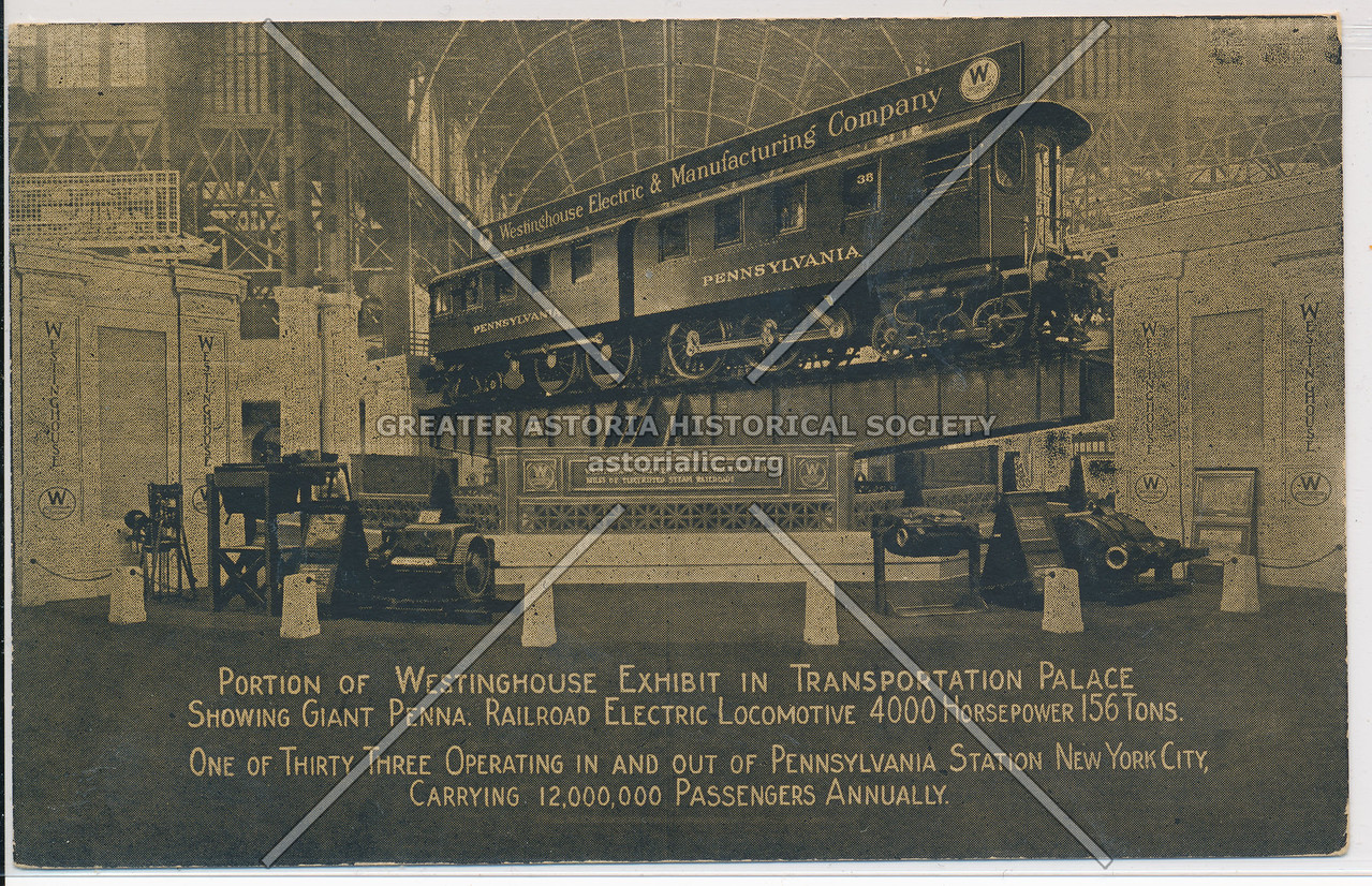 Portion of Westinghouse Exhibit in Transportation Palace, Showing Giant Penna
