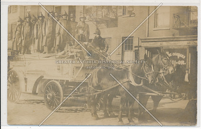 Horse-Drawn Fire Truck and New York City Fire Brigade