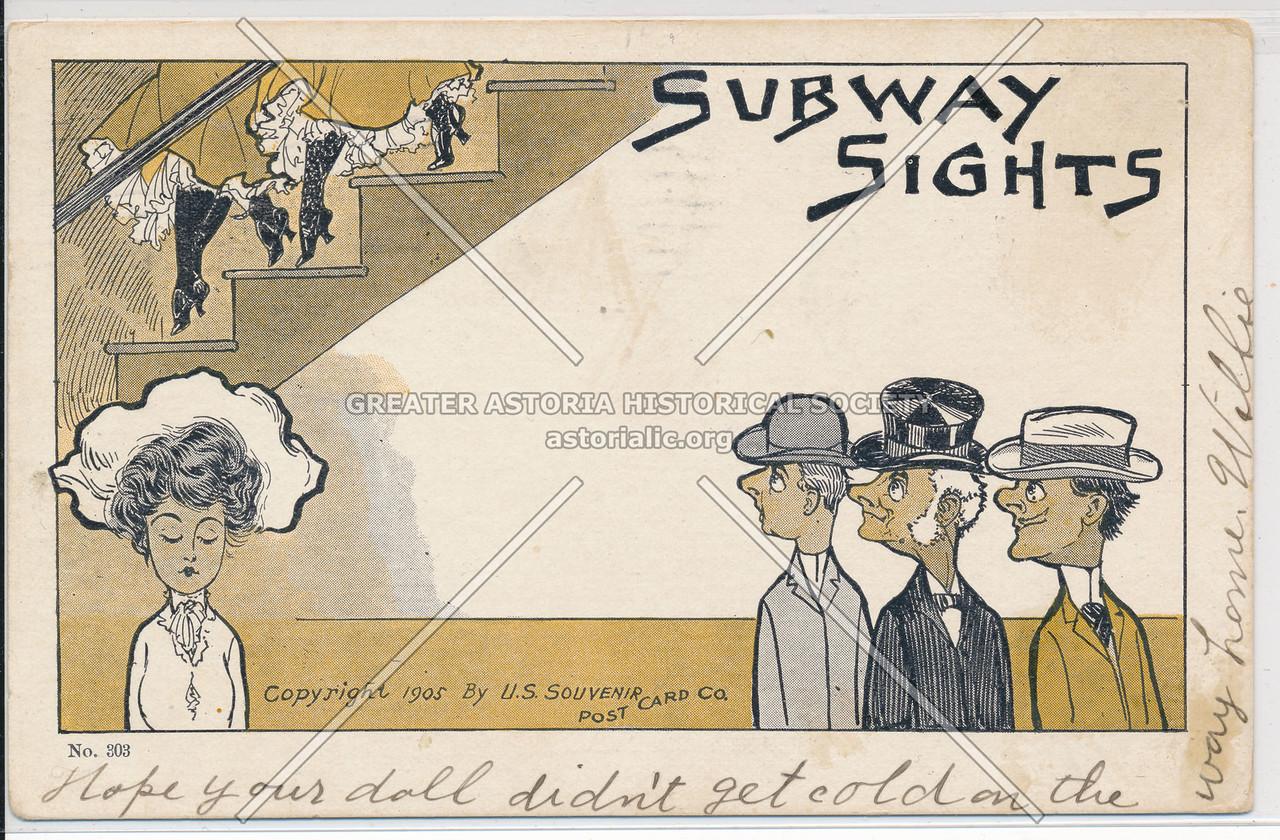 """""""Subway Sights"""" Souvenir Post Card, NYC"""