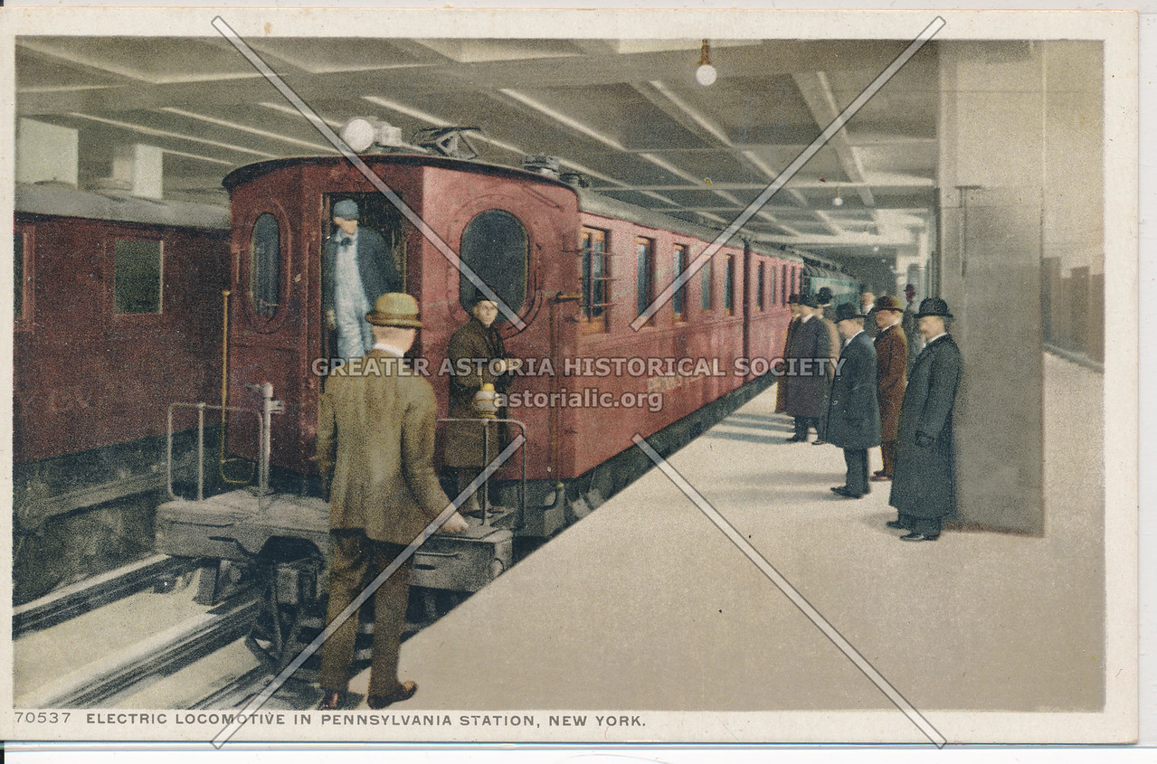 Electric Locomotive in Pennsylvania Station, New York City