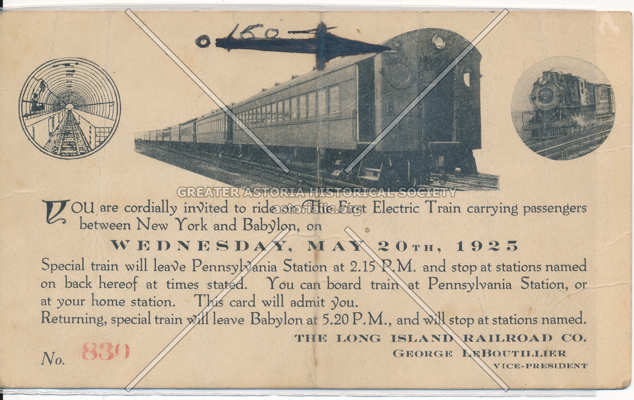 Invitation to the First Electric Train Carrying Passengers between New York and Babylon, Long Island