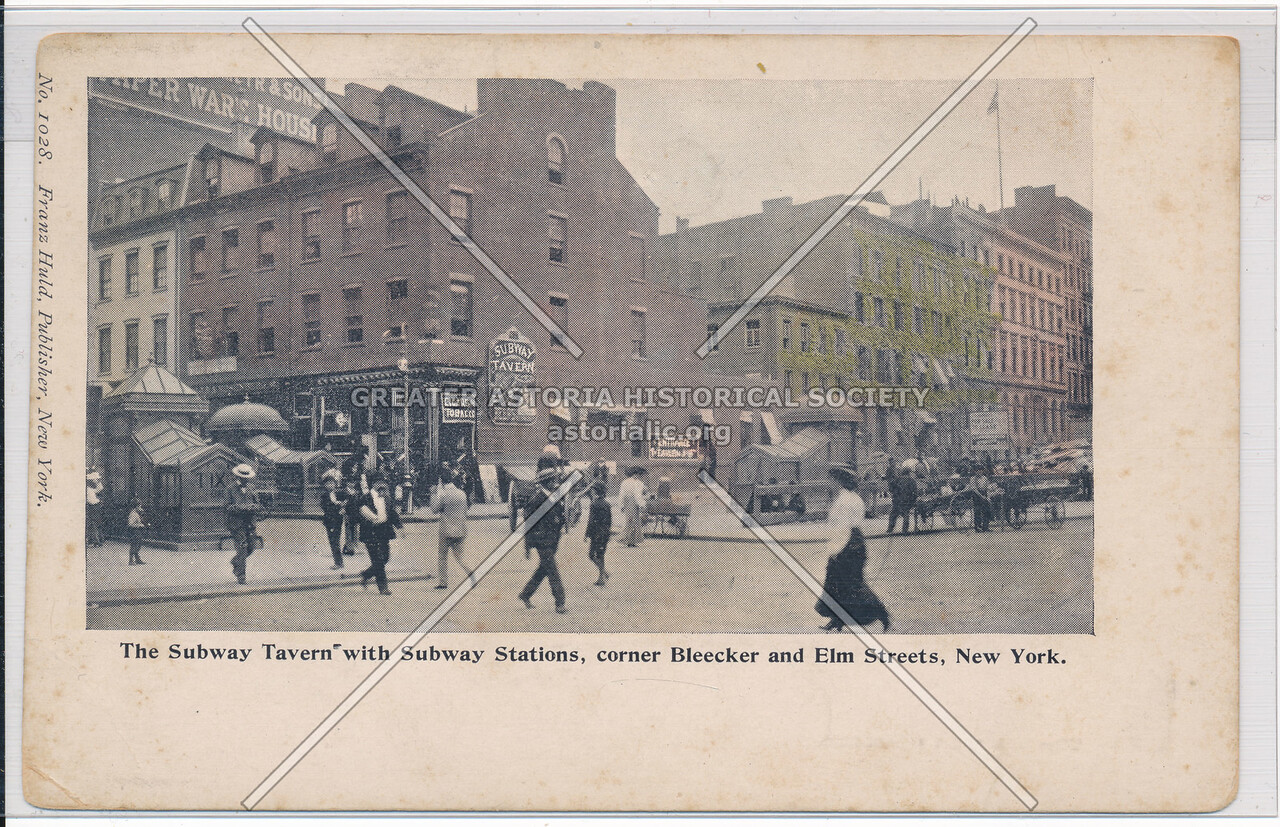 The Subway Tavern with Subway Stations, Bleecker and Elm (Lafayette) Streets, NYC