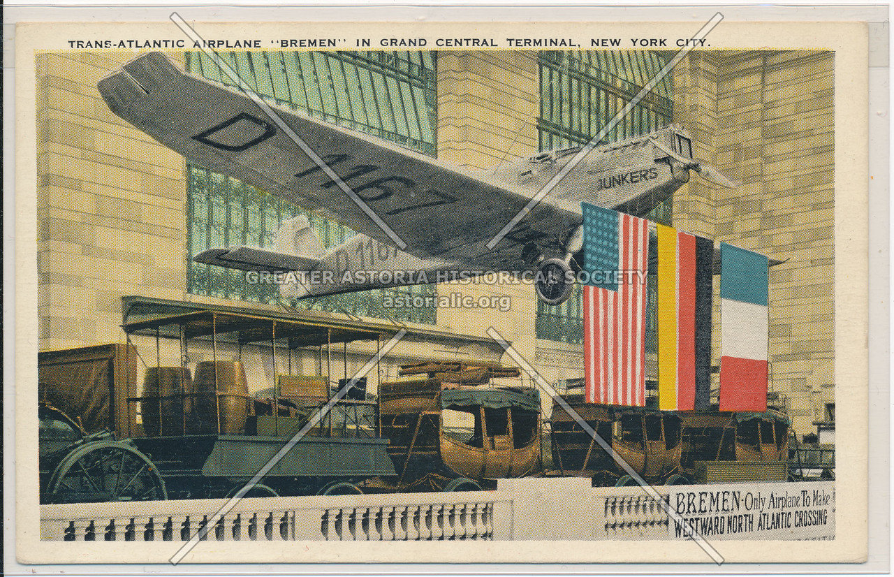 """Trans-Atlantic Airplane """"Bremen"""" in Grand Central Terminal, NYC"""