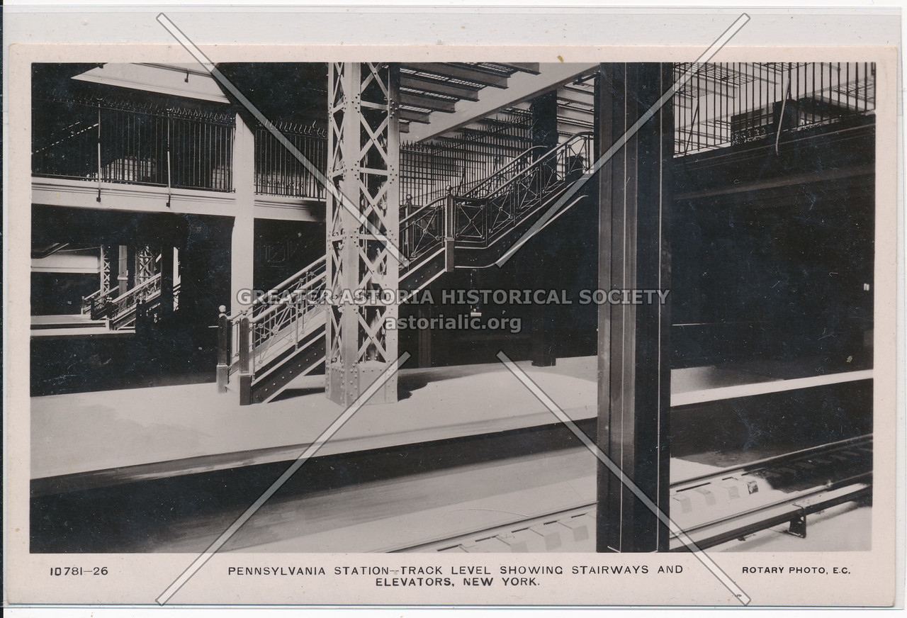 Pennsylvania Station - Track Level Showing Stairways and Elevators, NYC