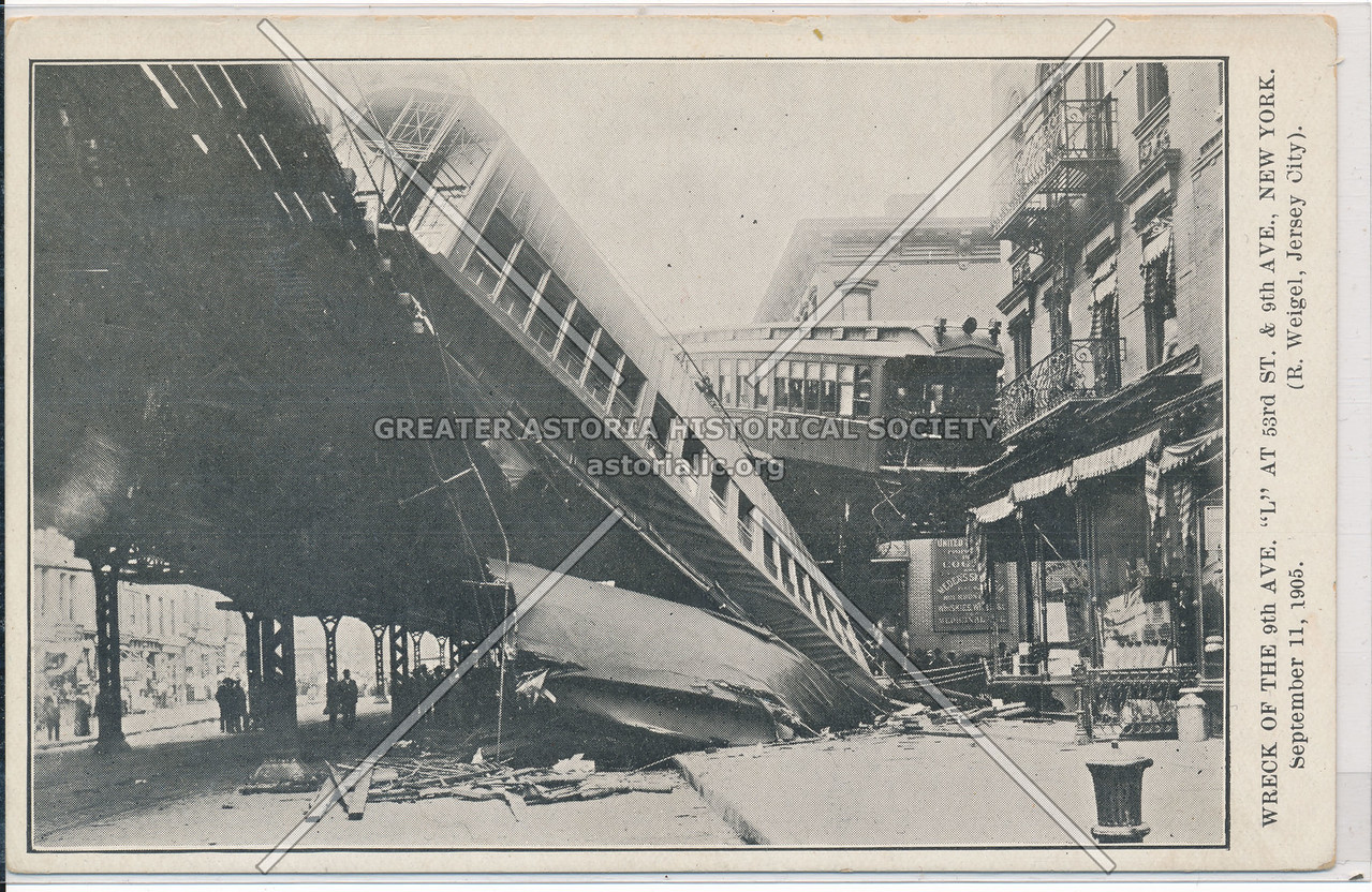 """Wreck of the """"L"""" Train at  9th Ave & 53 St, NYC (09/11/05)"""