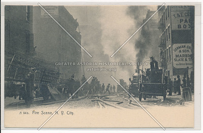 Fire Scene in New York City Showing Fire Engine