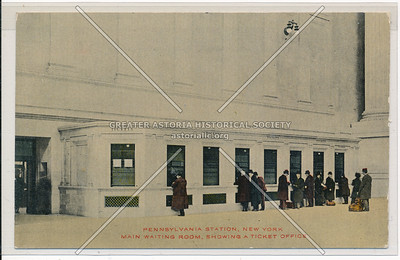 Main Waiting Room, Showing a Ticket Office, Pennsylvania Station, NYC