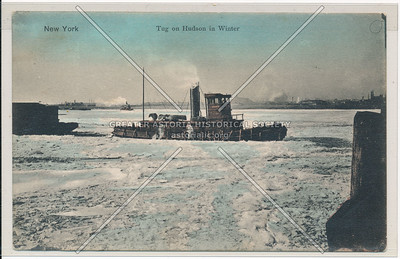 New York. Tug on Hudson in Winter