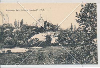 Morningside Park & St. Luke's Hospital, New York (B&W)