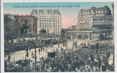 Brooklyn Bridge Entrance, Showing part of City Hall, New York