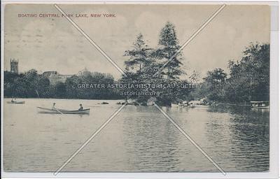 Boating, Central Park Lake, New York (black and white)