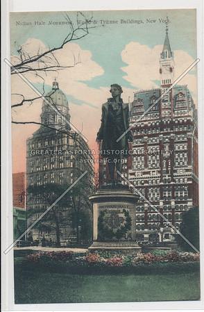 Nathan Hale Monument, World & Tribune Buildings, New York