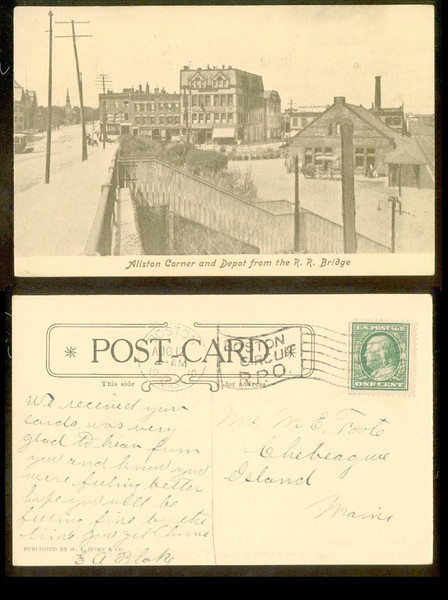 ALLSTON CORNER & DEPOT from RR BRIDGE 1910<br /> 292881045_3wRET