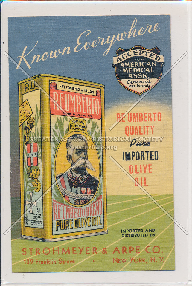 Olive Oil Ad, Reumberto Brand, 139 Franklin St, NYC