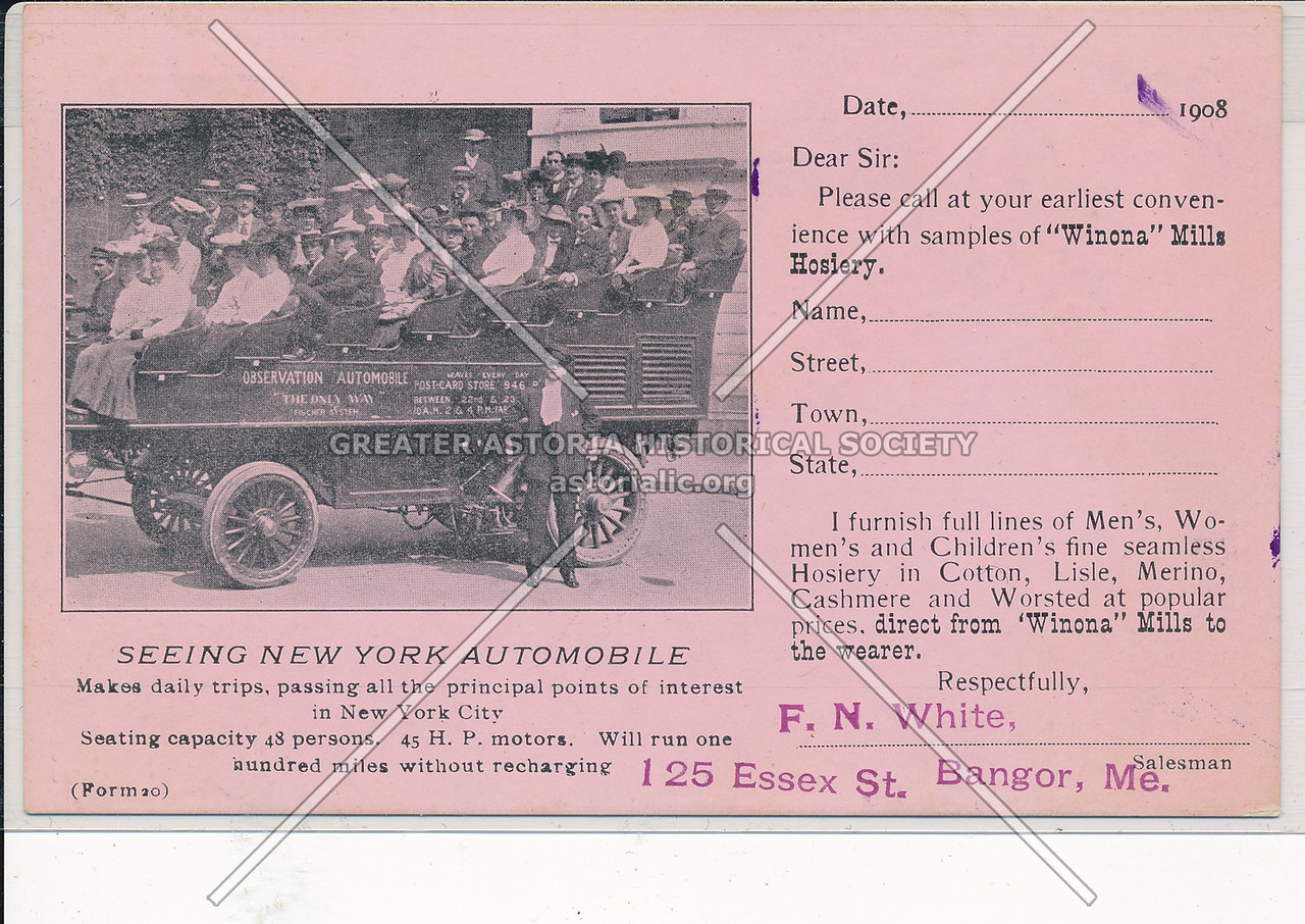 Advertising Card  for Winona Mills Hosery