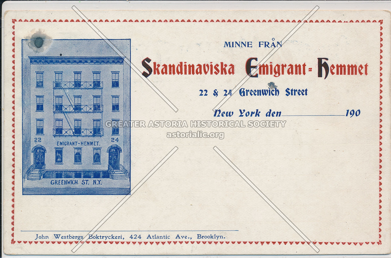 Skandinaviska Immigrant Hotel, 22 Greenwich St, NYC