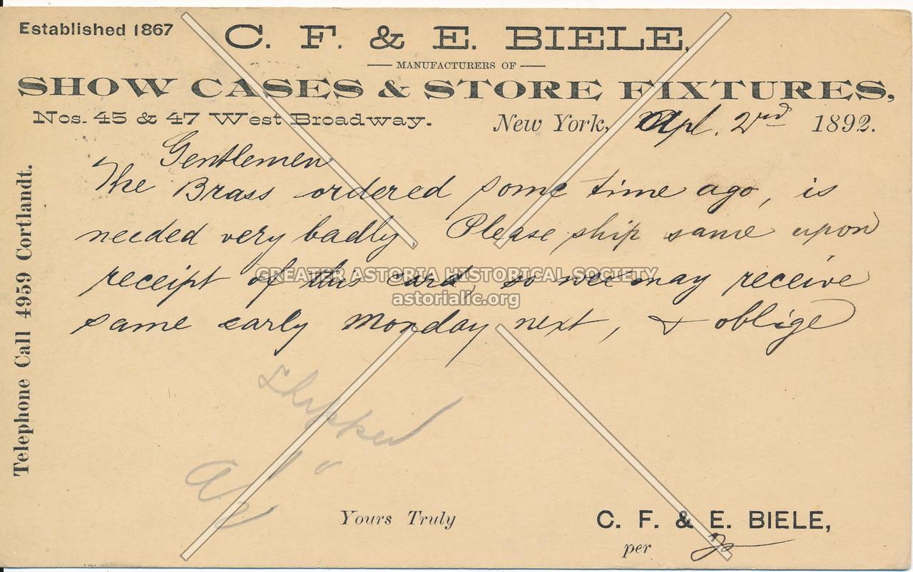 C F & E Biele Show Cases, W Braodway, NYC