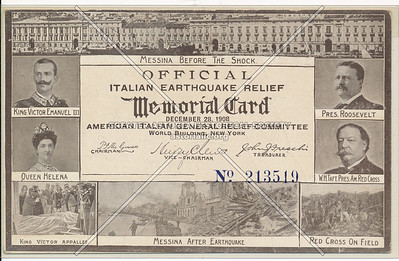 Italian Earthquake Relief c 1908