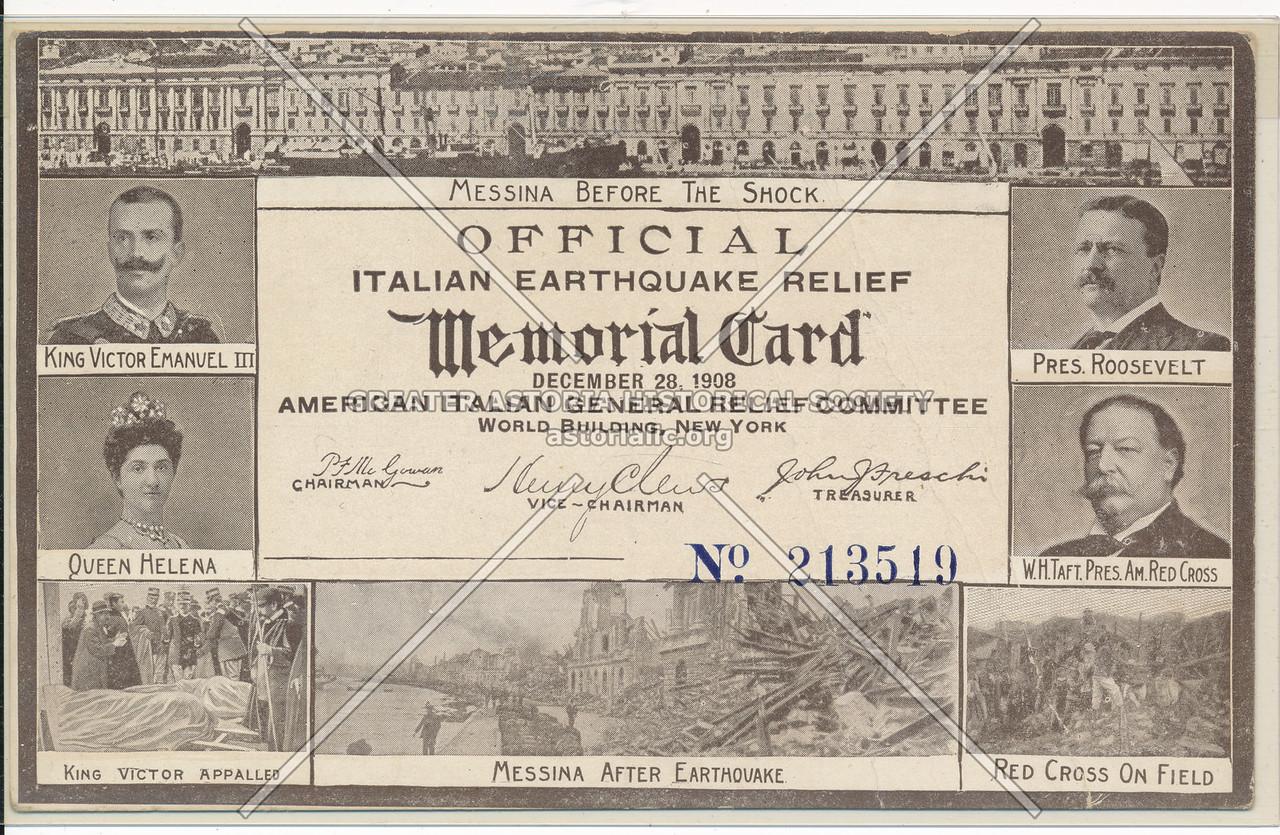 Italian Earthquake Relief c 1908