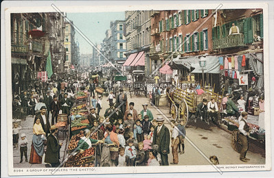 """A Group of Peddlers """"The Ghetto"""", NYC"""