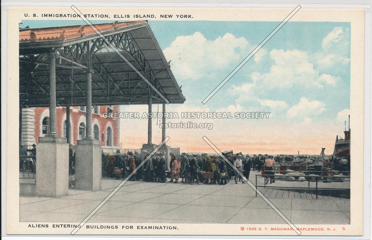 Ellis Island Aliens Entering Buildings for Examination
