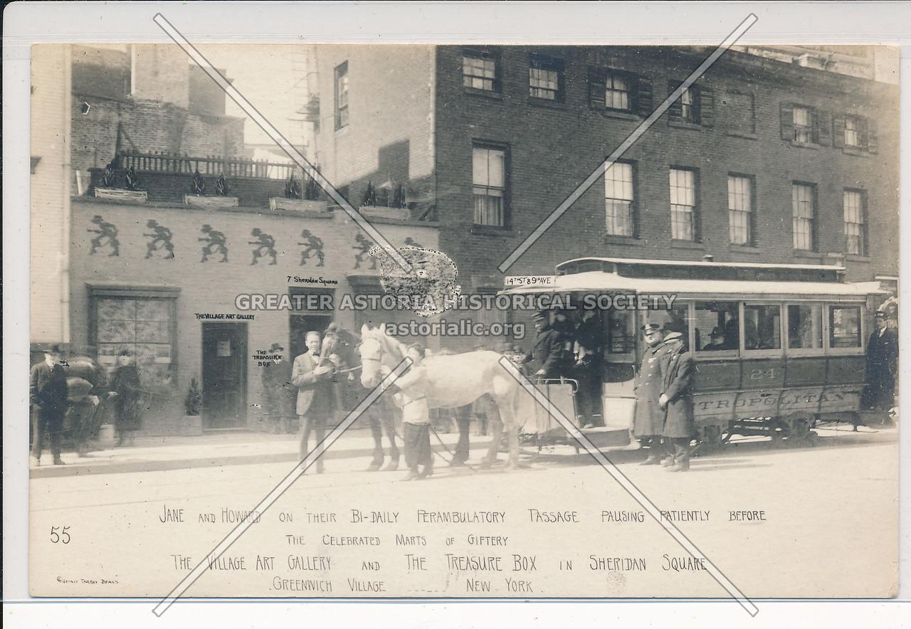 Horsecar, 7 Sheridan Sq, Greenwich Village - Jessie Tarbox Beals