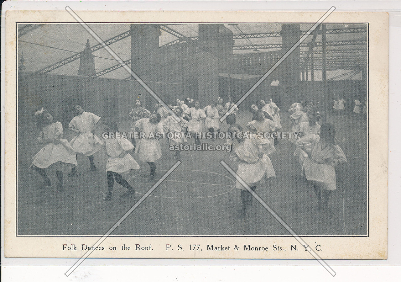 Folk Dances on the roof, PS 177, Market & Monroe Sts, NYC