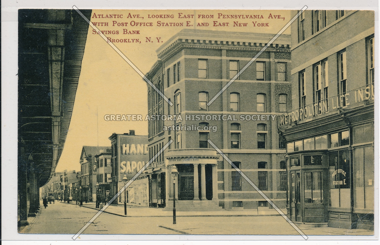 Atlantic Ave with Post Office Station & East New York Savings Bank, BK.