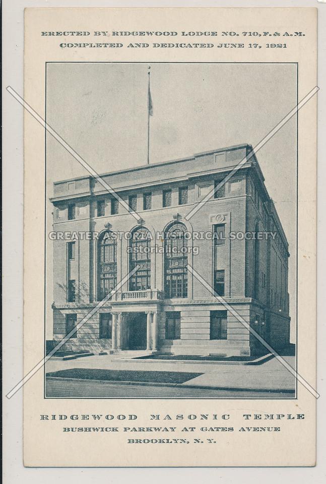 Ridgewood Masonic Temple, Bushwick Park at Gates Avenue, BK.