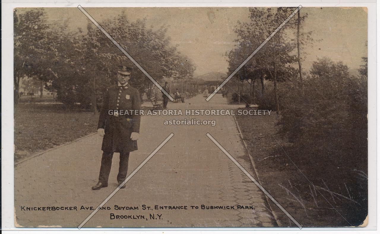 Knickerbocker Ave & Suydam St., Entrance to Bushwick Park, BK.