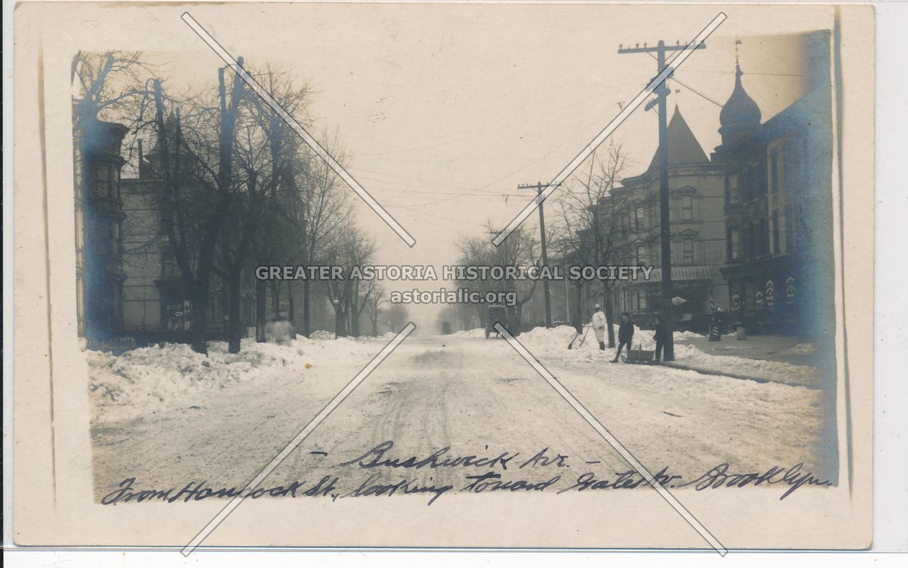 Bushwick Ave, from Hancock St, looking toward Gates Ave, BK.