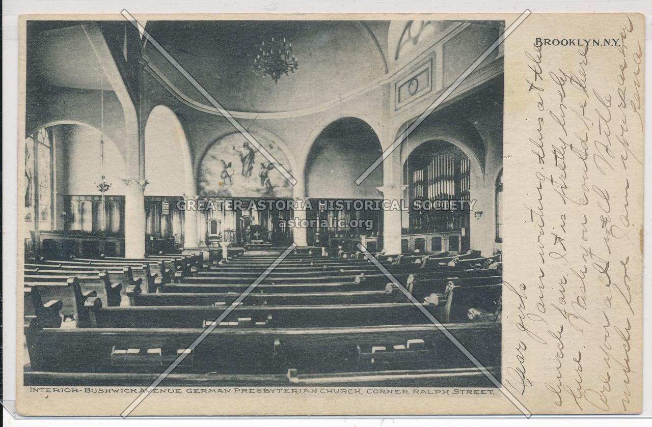 Interior, Bushwick Avenue German Presbyterian Church, Corner Ralph Street (Menahan St), BK.